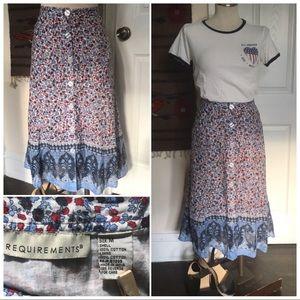 Boho classic button front cotton skirt